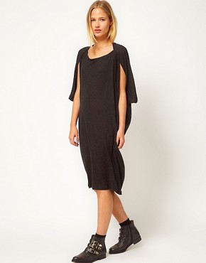 Image 1 ofWhite Tent Triangular Dress In Wool Mix Jersey