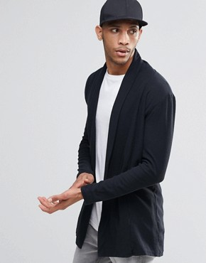 Pull&Bear Jersey Cardigan In Black