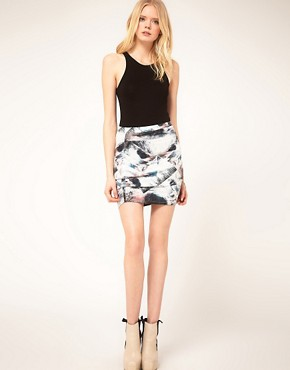Image 1 ofFactory By Erik Hart Skirt Mini Jersey Foil Print