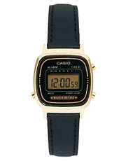 Casio Black Leather Strap Digital Watch