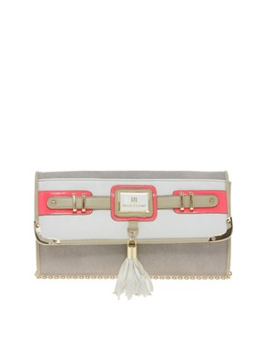 Image 1 of River Island Neon Pink Tassel Front Clutch Bag