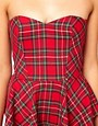 Image 3 ofASOS PETITE Exclusive Strapless Peplum Dress In Check