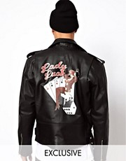 Reclaimed Vintage Real Leather Biker Jacket with Lady Luck Stamp