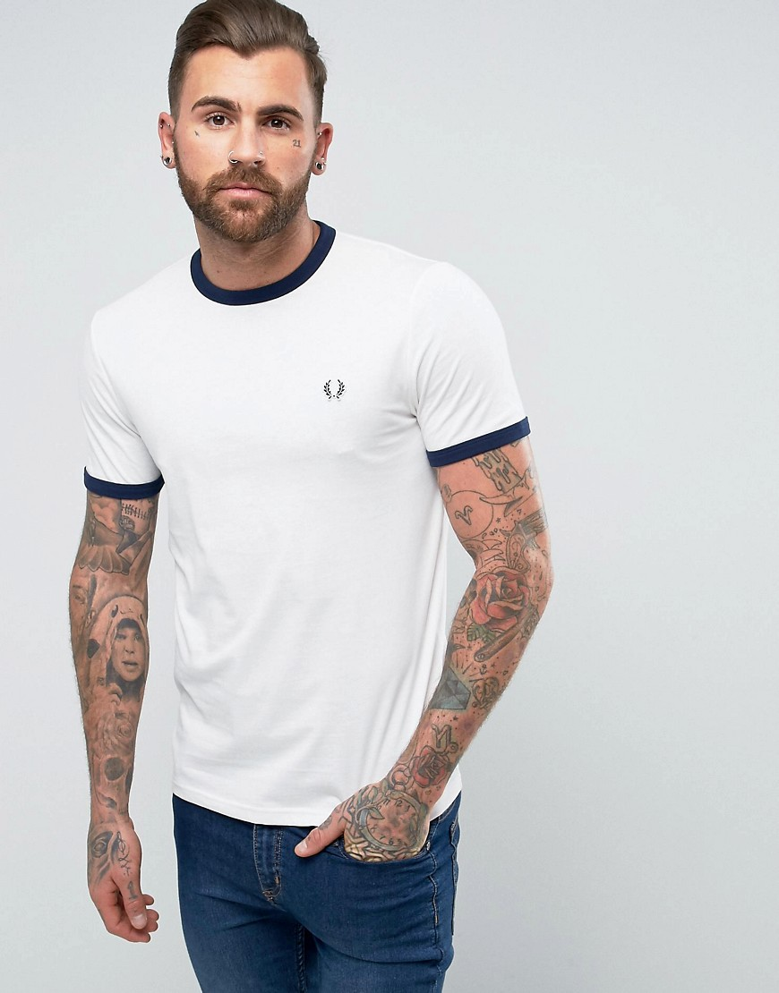 Fred Perry Slim Fit Sports Authentic Ringer T-Shirt In White - Snow white