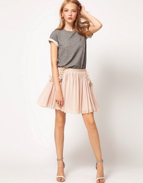 Image 1 ofASOS Skater Skirt with Flower Pocket