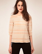 Whistles - Top a righe con inserti in pizzo