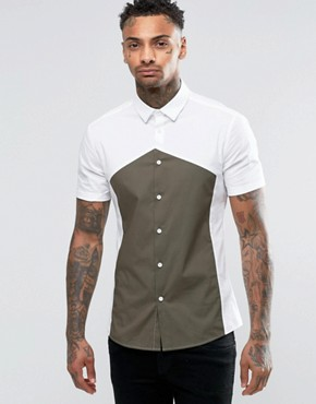 ASOS Skinny Shirt In White With Diamond Cut And Sew And Short Sleeves