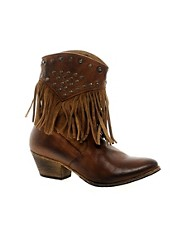 H by Hudson Cavalette 1 Brown Fringe Cowboy Boot