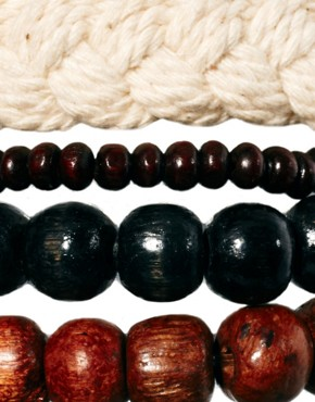 Image 1 ofASOS Rope and Wood Bracelet Pack