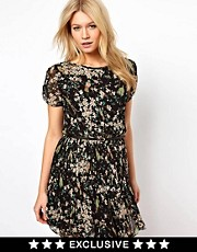 Oasis Bird Print Pleated Dress