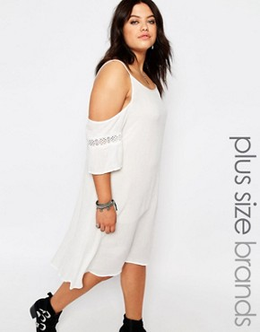 Missguided Plus Cold Shoulder Cheese Cloth Dress