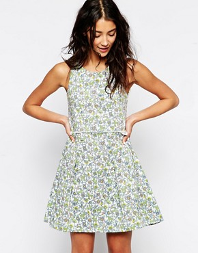 Sister Jane Joni Denim Dress In Disty Floral Print