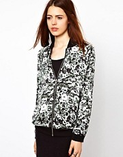 Just Female Flower Printed Bomber Jacket