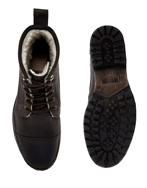 Image 3 ofASOS Workboots With Shearling Lining