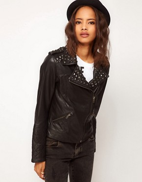 Image 1 ofASOS Studded Leather Biker Jacket