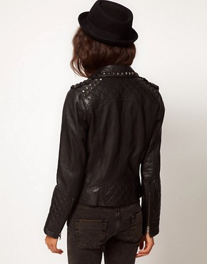 Image 2 ofASOS Studded Leather Biker Jacket