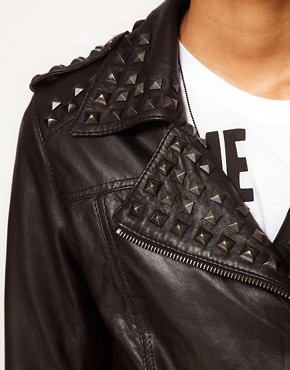 Image 3 ofASOS Studded Leather Biker Jacket