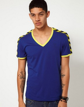 Image 1 ofHummel T-Shirt With Deep V Neck and Taped Sleeves