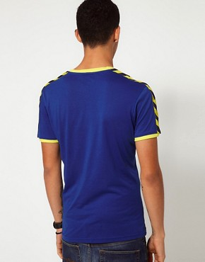 Image 2 ofHummel T-Shirt With Deep V Neck and Taped Sleeves