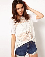 ASOS T-Shirt with Geometric Floral Embroidery
