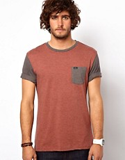 RVCA T-Shirt Contrast Pocket &amp; Sleeve