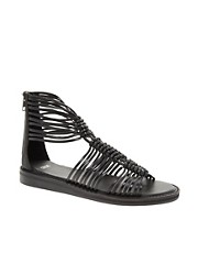 Sandalias planas estilo gladiador de cuero FIRE de ASOS