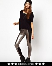 Religion Metallic Afi Leggings Exclusive To Asos