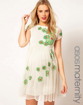 Image 1 of ASOS Maternity Skater Dress With Embellishment