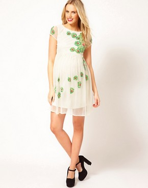 Image 4 of ASOS Maternity Skater Dress With Embellishment
