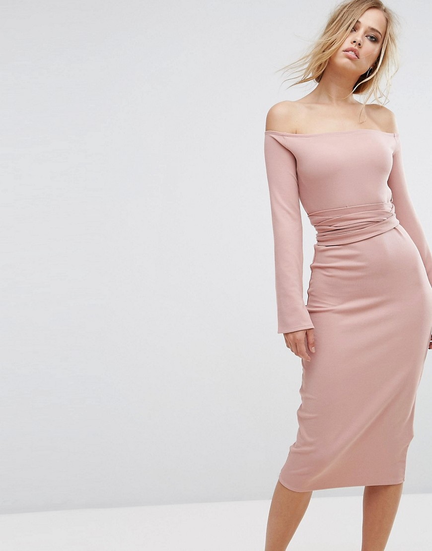 Lost Ink Midi Dress With Split Sleeves - Pink