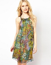 Traffic People Silk Floral Swing Dress