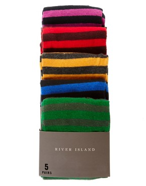 Image 3 of River Island 5 Pack Bright Stripe Socks