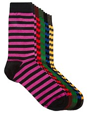 River Island 5 Pack Bright Stripe Socks