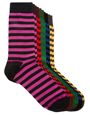 Image 1 of River Island 5 Pack Bright Stripe Socks