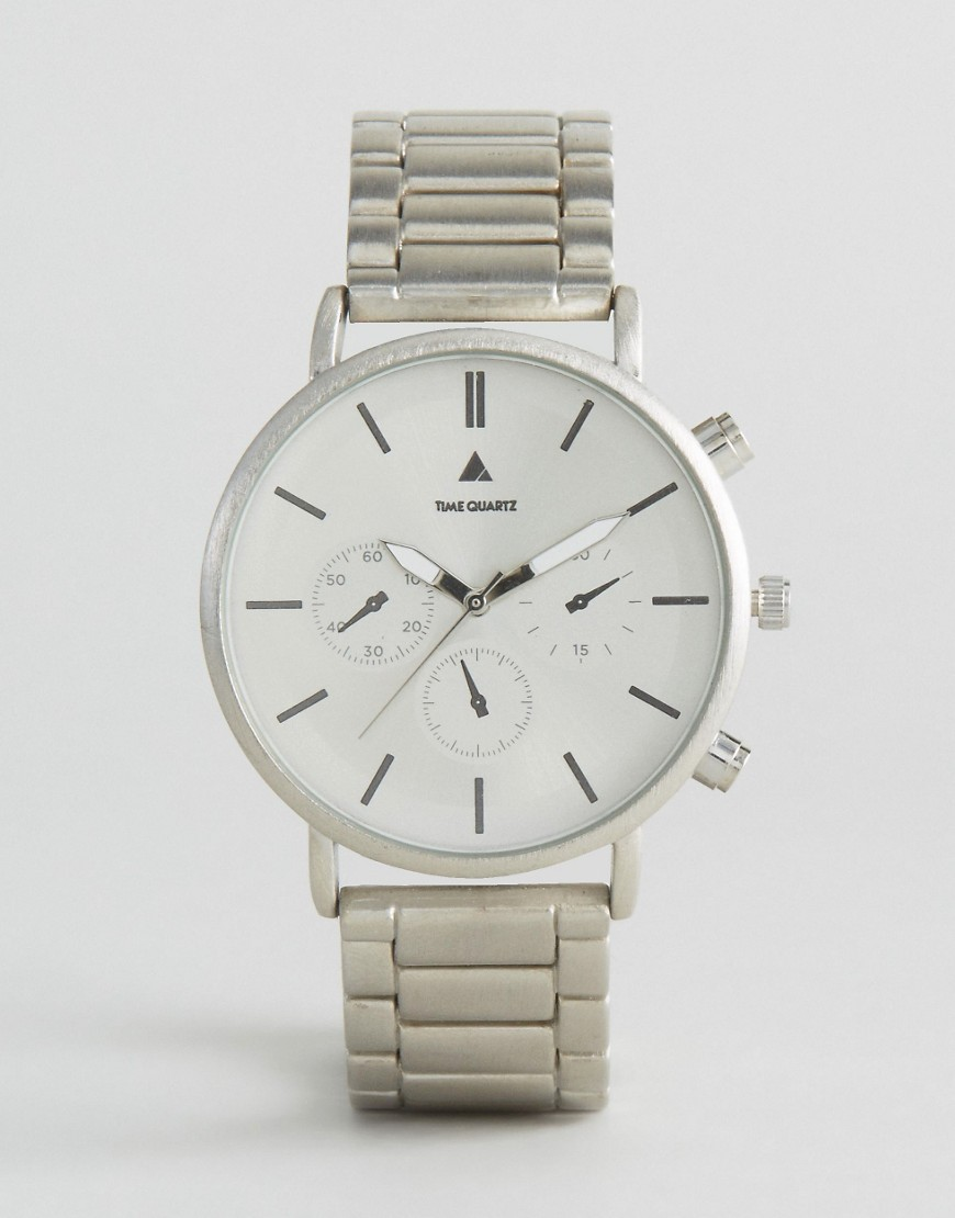 ASOS Bracelet Watch in Brushed Silver - Silver