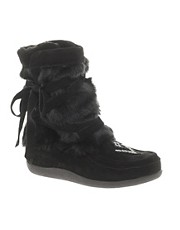 Muks Short Wrap Boot With Faux Fur