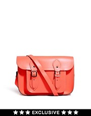Cambridge Satchel Company  11-Zoll-Ledersatchel in Neon-Koralle, exklusiv bei Asos