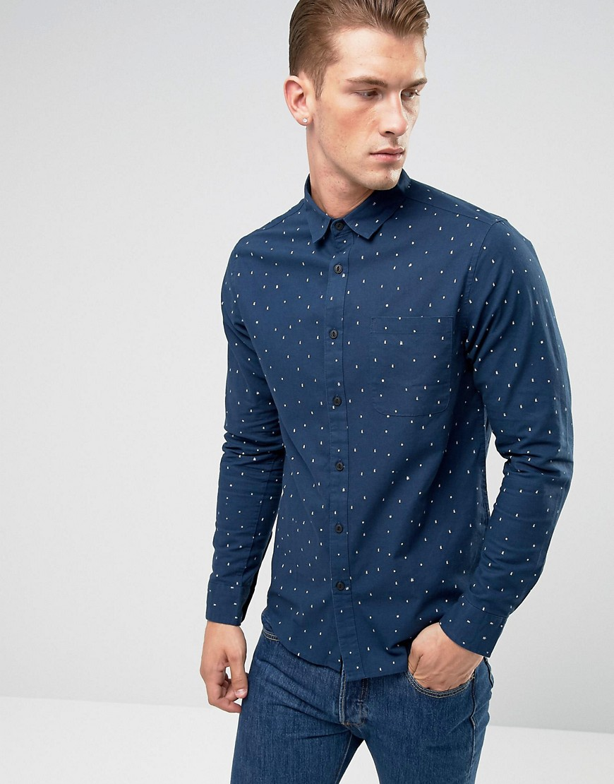 Only & Sons Shirt in Slim Fit All Over Ditsy Print - Dress blue