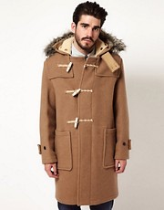 Gloverall Duffle Coat with Faux Fur Trim