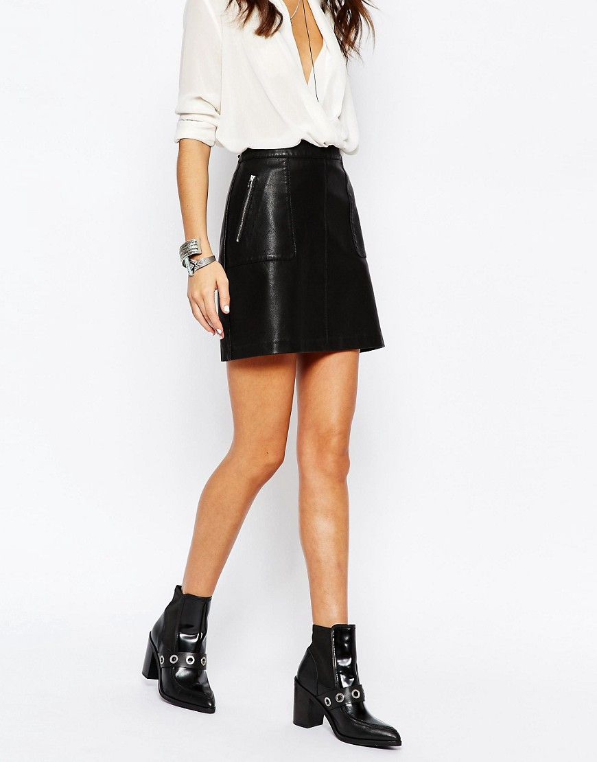 Image 4 of New Look Faux Leather Zip Skirt