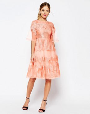 ASOS SALON Lace And Organza Midi Dress