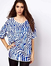 ASOS - T-shirt oversize con motivo zig-zag a paillettes