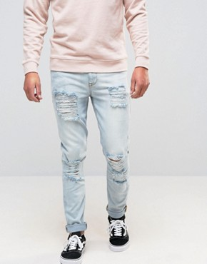 ASOS Skinny Jeans With Extreme Rips In Bleached Wash