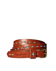 Pepe Jeans Leather Belt with Beading