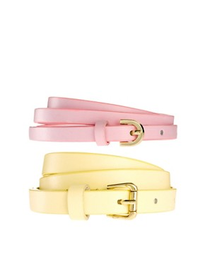 Image 1 ofASOS 2 Pack Skinny Waist Belts