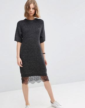 ASOS Jumper Dress with Lace Hem Detail