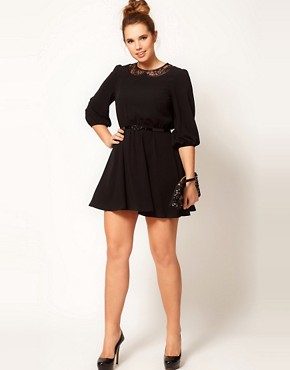 Image 4 ofASOS CURVE Skater Dress With Lace Peter Pan Collar