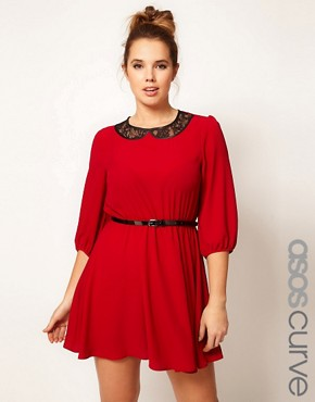 Image 1 ofASOS CURVE Skater Dress With Lace Peter Pan Collar