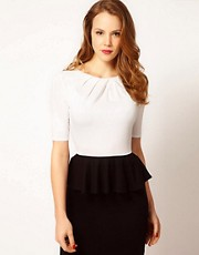 Karen Millen Peplum Tee in Contrast Colour