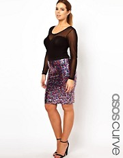 ASOS CURVE Pencil Skirt In Multi Sequin